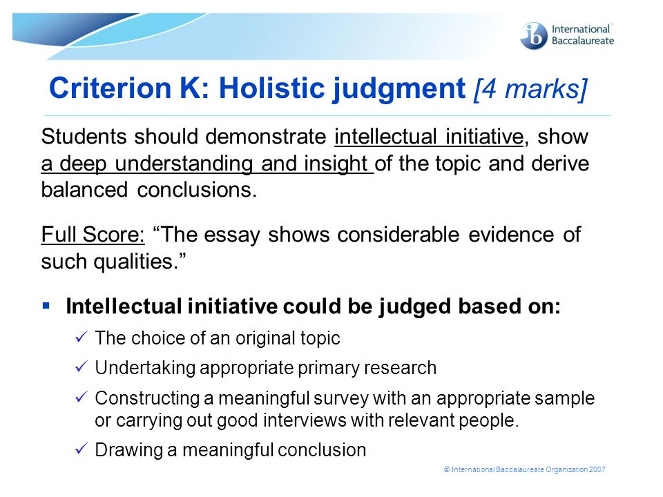 Criterion K: Holistic judgment [4 marks]